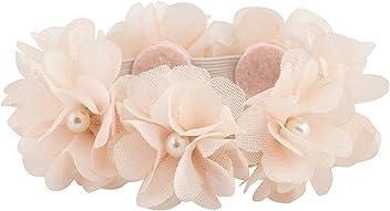 SIX Haarschmuck: Elastisches Haargummi mit apricotfarbene Textil-Blüten und Perlen, perfekt für Dutt-Frisuren, für Hochzeit/Ballett/festlich (485-215)