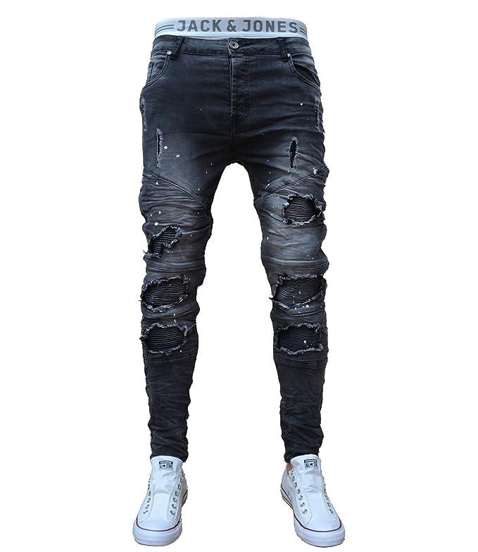 G Rag 70LF24 Schwarze Jeans Herren Junge Skinny Bikerjeans