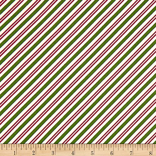 Maywood Studio Christmas Joys Flannel Candy Cane Stripe Green Red Fabric by The Yard