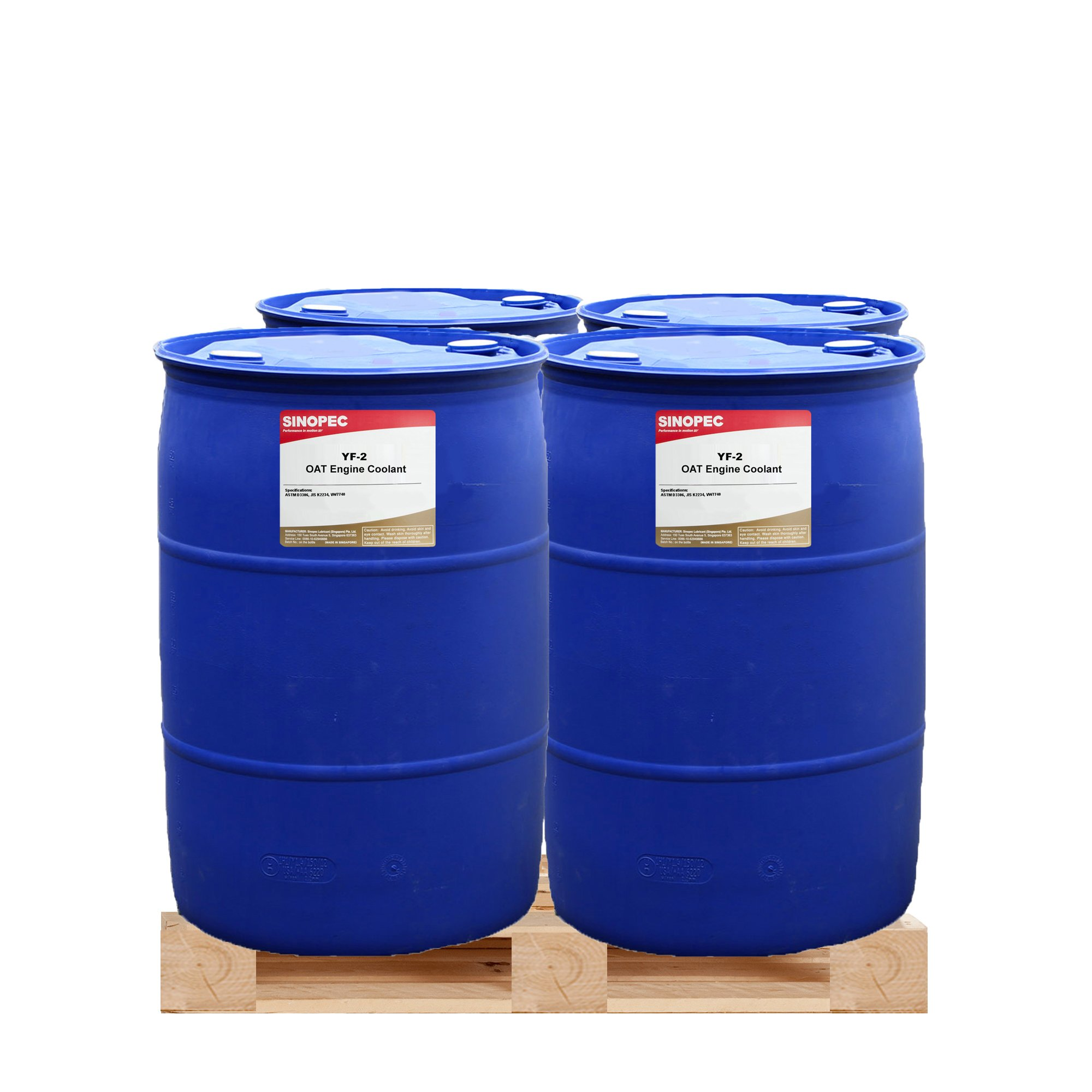 $325 Each - Red HD Extended Life 50/50 Coolant/Antifreeze (ELC/OAT) - (4) 55 Gallon Drum by Sinopec