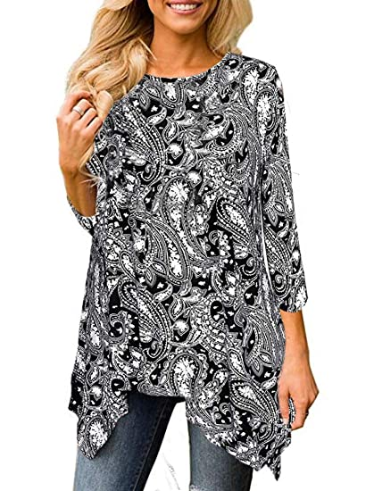03fb50b112a Swing Tunics for Women, Halife Juniors Tops and Blouse Floral Shirts Flared Casual  Tunic Tops Black S at Amazon Women's Clothing store: