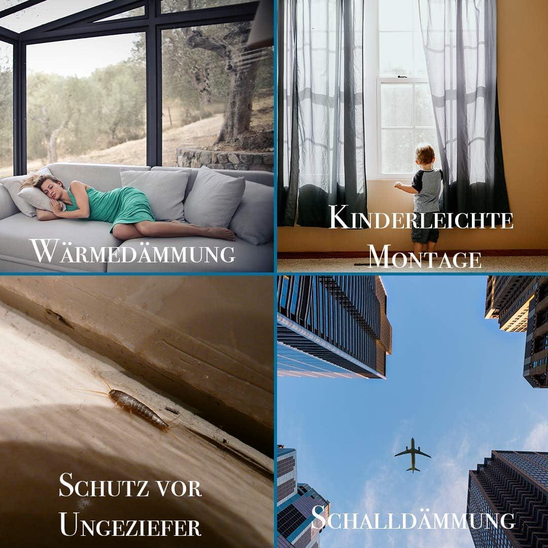 Verglasungsdichtung f/ür Au/ßenbereich mit Antidehnungsfaden f/ür Kunststofffenster /& Aluminiumfenster Dichtung Schwarz 10m Fensterdichtung f/ür Fenster-Systeme