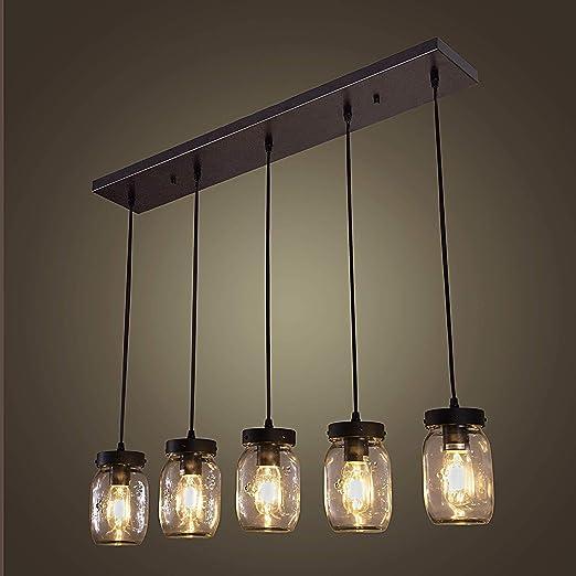 Wellmet - Lámpara de techo colgante de madera con 5 luces ...
