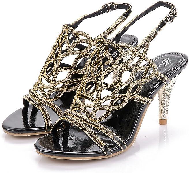 8bfef3302285 Unicrystal Women s Stiletto Heel Strappy Rhinestone Evening Bridal Wedding  Prom Crystal Sandals Black 4 ...