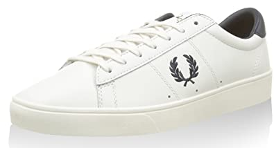 Fred Perry Men's Spencer Leather Fashion Sneaker,Porcelain/Navy,11 UK/12