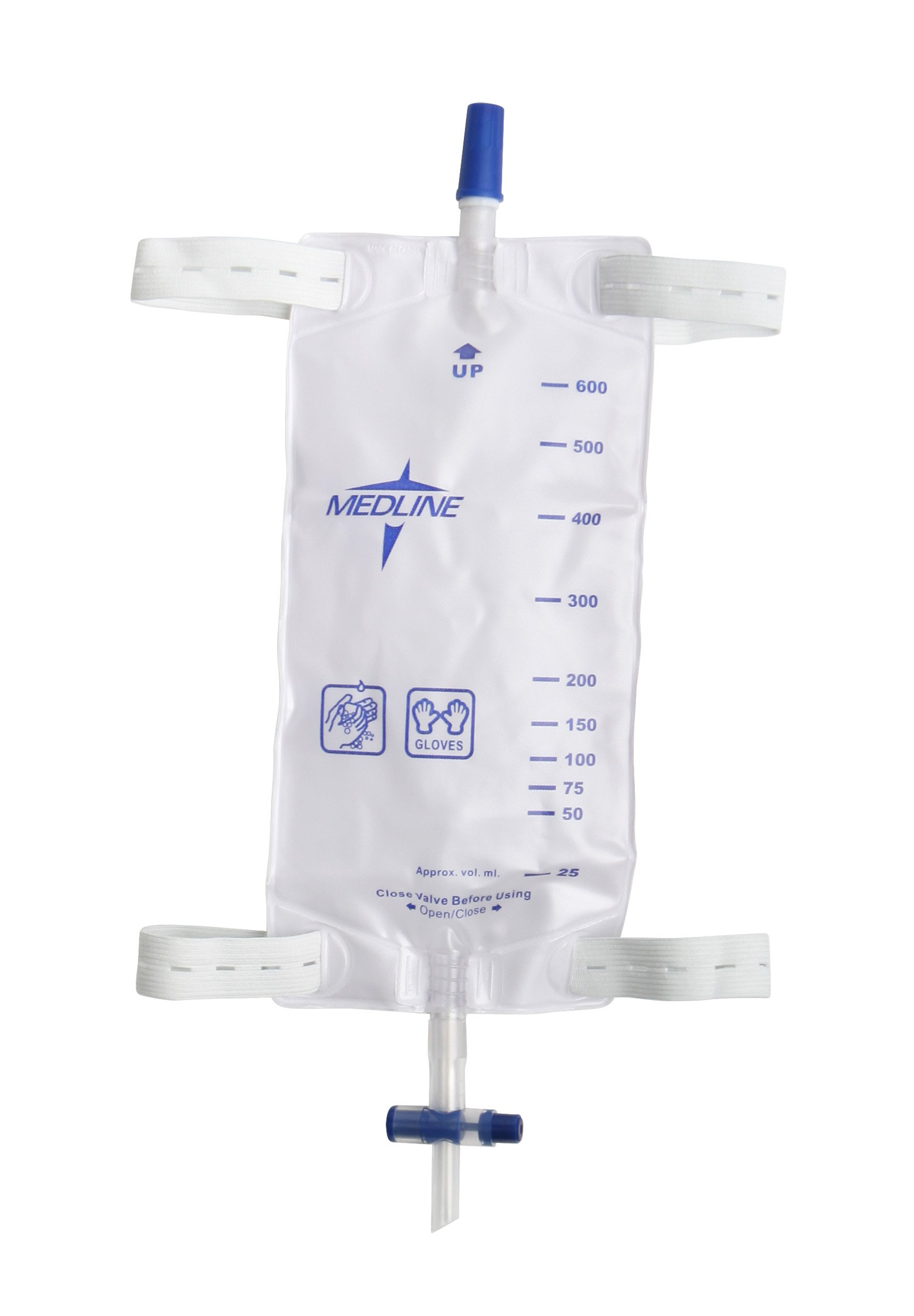 Medline DYND12584 Leg Bags with Slide Tap, 19 Ounce Capacity, Medium (Pack of 48)