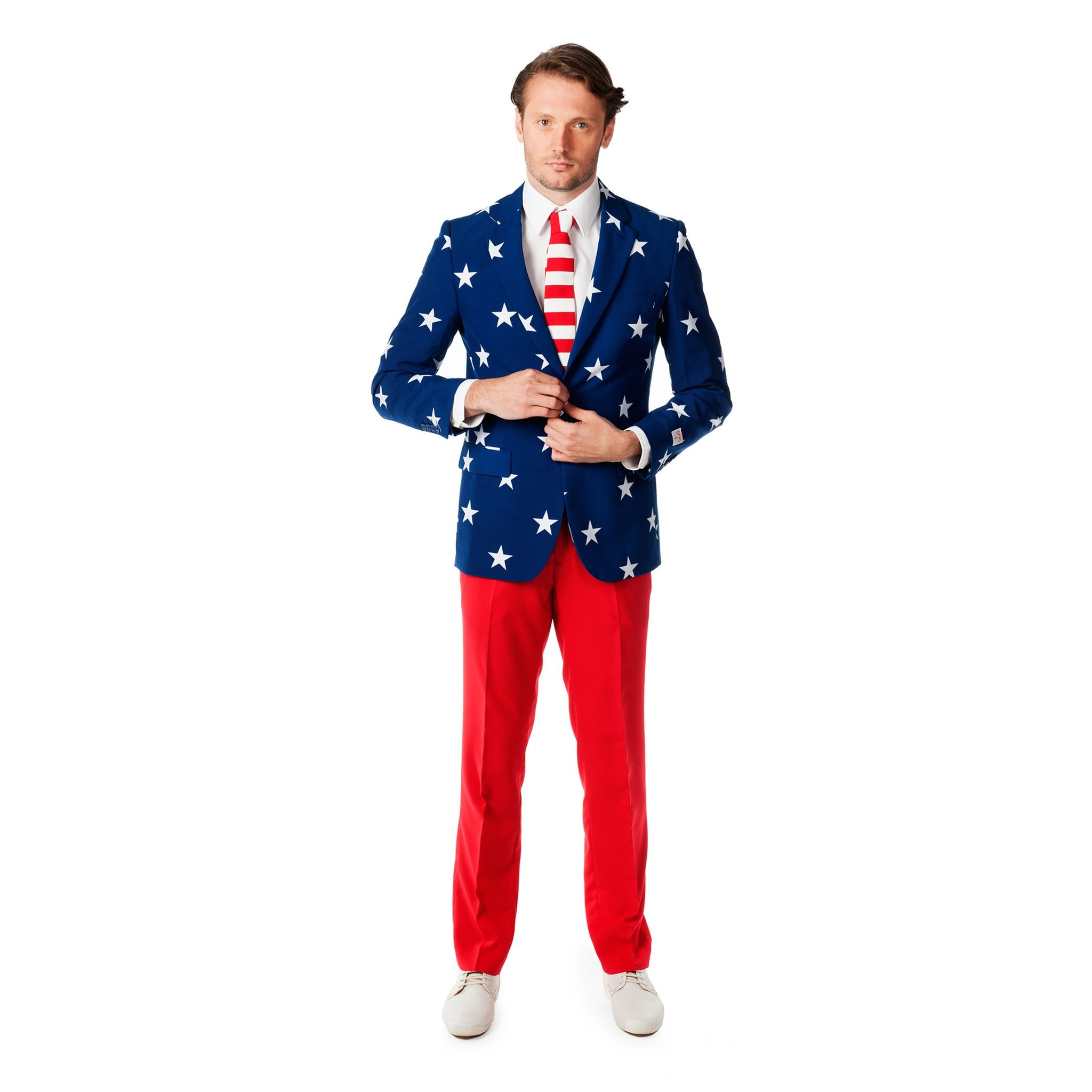 OppoSuits Men's Stars and Stripes Party Costume Suit, Blue/Red/White, 50