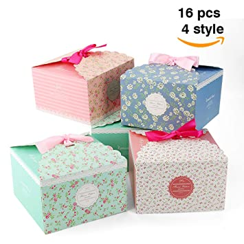VEESUN Cajas para Regalo, 16pcs 4 Colores Bolsas de Regalo Cajas de Papel Kraft con Cinta Personalizada Papel de Regalo para Aniversario Boda Fiesta ...