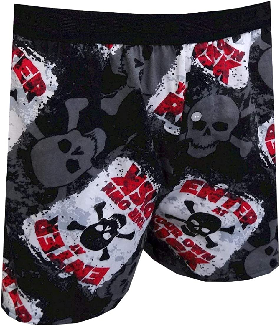 Fun Boxers Mens Danger Enter at Your Own Risk Size Small Boxer Shorts