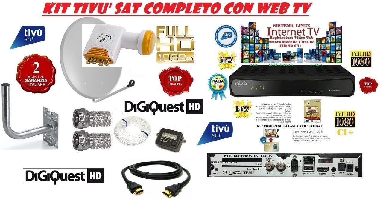 Kit Satellite TIVU Sat HD Antena Parabólica 80 cm + ...