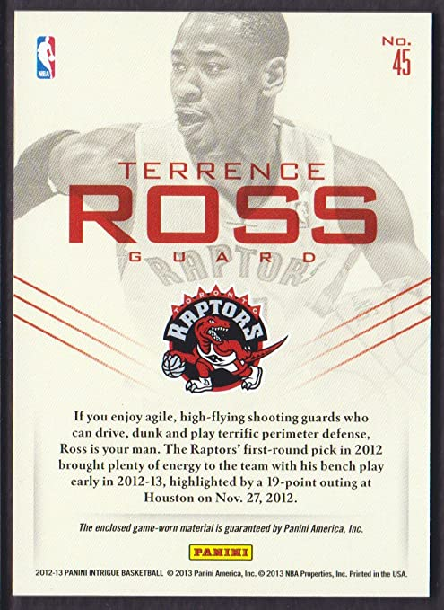 50898337897 2012-13 Panini Intrigue Basketball Top Flight Jersey #45 Terrence Ross  47/49 Toronto Raptors at Amazon's Sports Collectibles Store