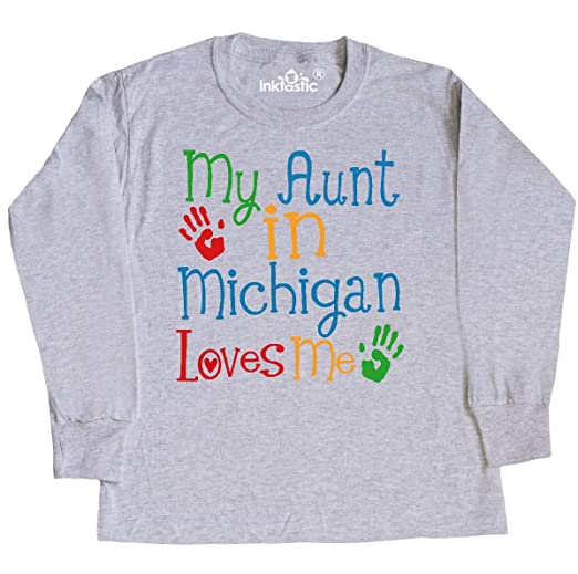 inktastic My Aunt in Michigan Loves Me Baby T-Shirt