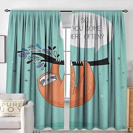 Cortina para Puerta corredera con diseño de Gato Grande con Bigotes y Sombra Oscura y Dibujo a Mano para recámara, Color Negro, Blanco y Azul Cielo: Amazon.es: Hogar