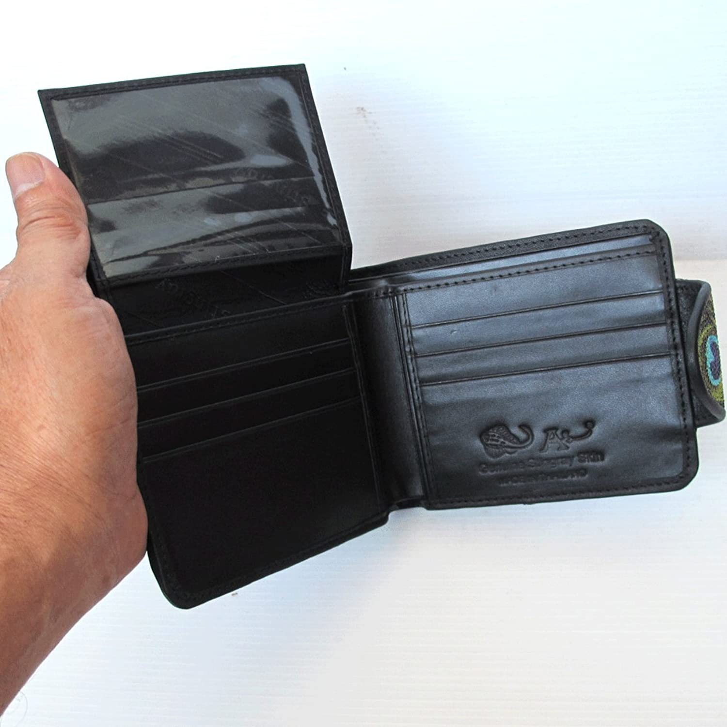 """HelloHappiness"" FASHIONABLE !! 100 % GENUINE STINGRAY LEATHER BIFOLD WALLET WITH PEACOCK (UNISEX) STANDARD US SIZE = CLOSED 4.2 X 3.5 INCHEN (WITH CLOSE SNAP)"