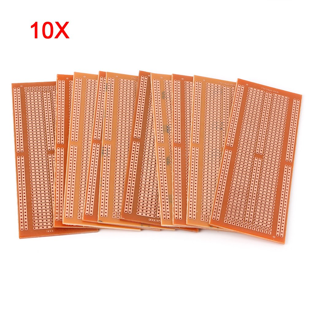 Jiamins 10 Pcs PCB Prototype Board, DIY Prototype Paper Copper PCB Single Side Experiment Board Bakelite Circuit Board 4.8x13.3cm