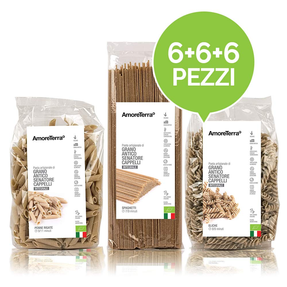 Pasta integral - Made in Italy - Orgánica - 18 piezas x 500 g