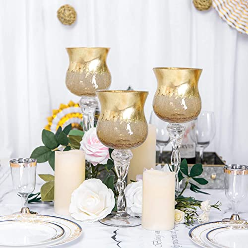 Tableclothsfactory Set of 3 Hurricane Long Stem Gold Foil Crackle Glass Vases Candle Holder Set – 16 14 12