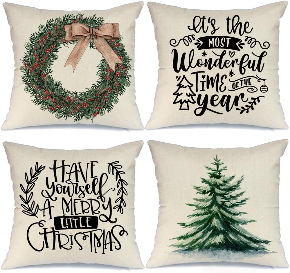 AENEY Christmas Pillow Covers 18x18 Set of 4, Christmas Tree Wreath Rustic Winter Holiday Throw Pillows Farmhouse Christmas Decor for Home, Xmas Decorations Cushion Cases for Couch A302-18