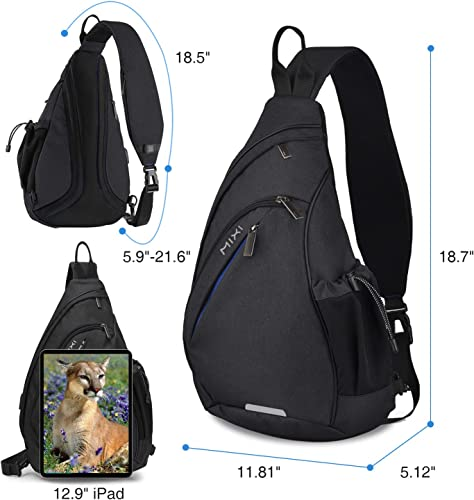 Hanke Sling Bag with USB Port Water Resistant Mens Sling Backpack Multipurpose Crossbody Shoulder Bag Chest Bag-19 inch,Black