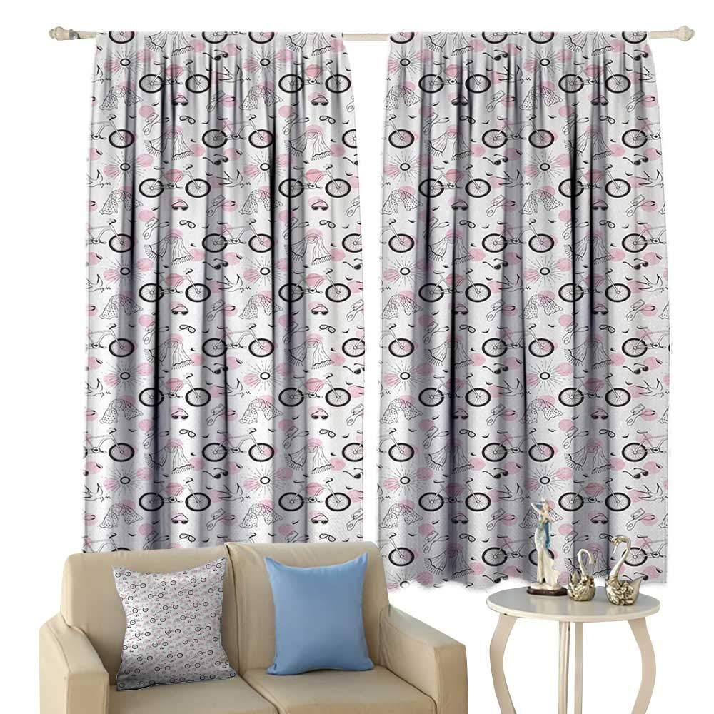 HoBeauty Bicycle, Blackout Window Curtain, Springtime Accessories Drawing Bicycle Scarf Headphones Dove and Olive Branch, Customized Curtains,(W72 x L63 Inch, Pale Pink Black