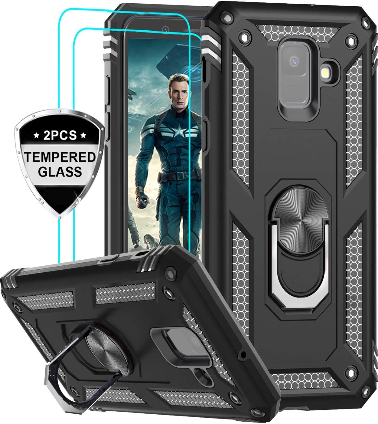LeYi Samsung Galaxy A6 Case with Tempered Glass Screen Protector [2 Pack], [Military Grade] Defender Protective Phone Case with Magnetic Car Ring Holder Mount Kickstand for Samsung A6, JSFS Black