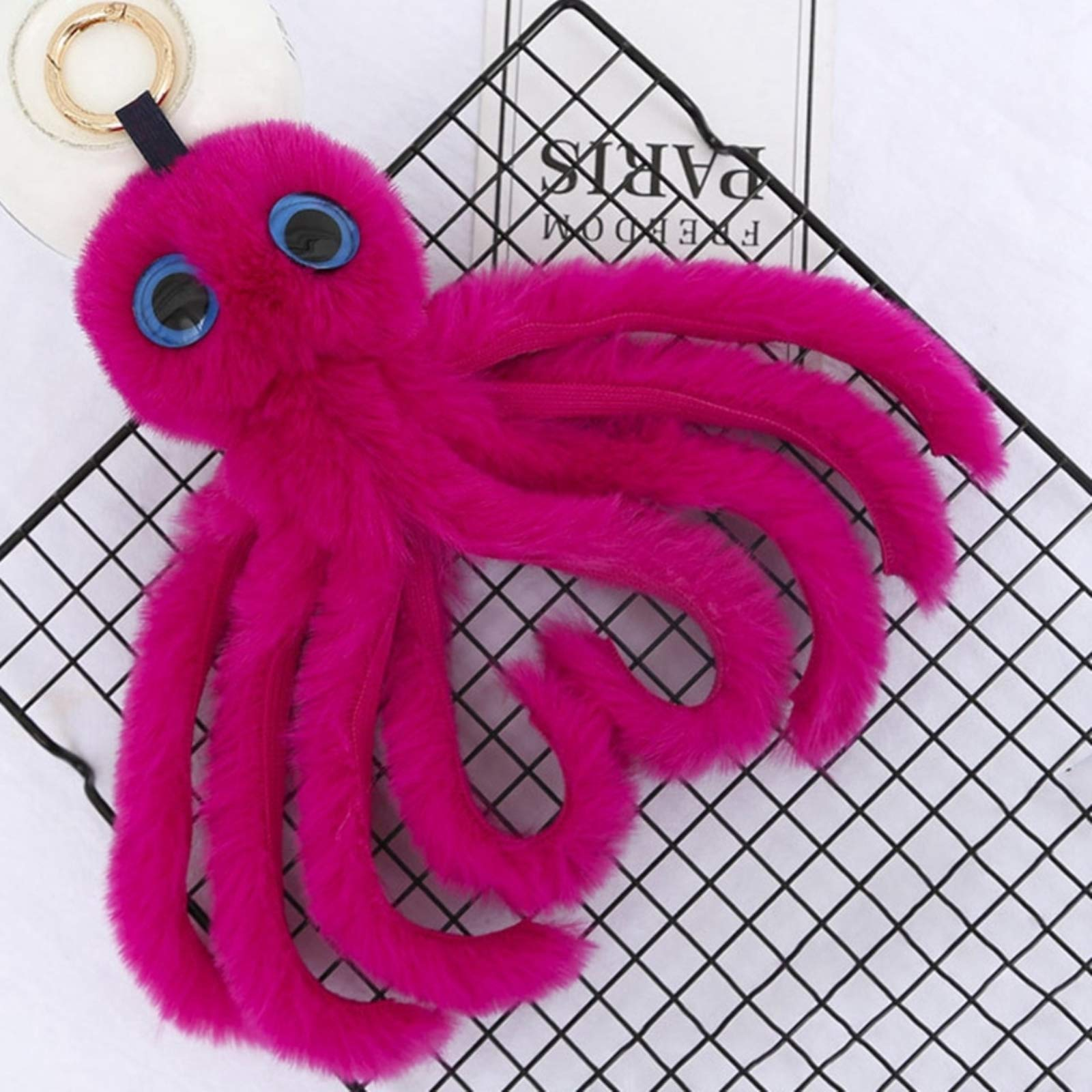 Large Key Chains for Women Novelty 2018 Cute Octopus Keychains Women Pompom Artificial Rex Rabbit Fur Car Key Ring Long Tassel Fluffy Key Chain Bag Jewelry