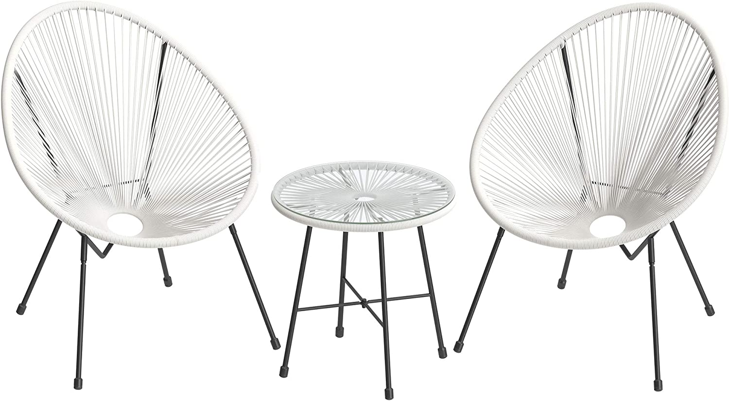 SONGMICS 3-Piece Outdoor Seating Acapulco Chair, Modern Patio Furniture Set, Glass Top Table and 2 Chairs, Indoor and Outdoor Conversation Set, White UGGF011W01