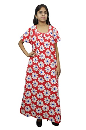 Indiatrendzs Womens Nighty Red Floral Print Nightgown Red White  Amazon.in   Clothing   Accessories 1663c5a8c