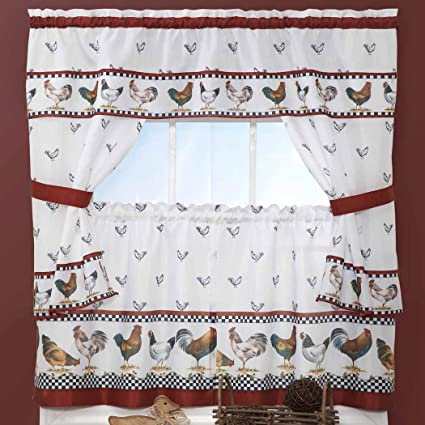 Brilliant Amazon Com 3 Piece Red White Rooster Kitchen Tiers Valance Home Interior And Landscaping Ologienasavecom