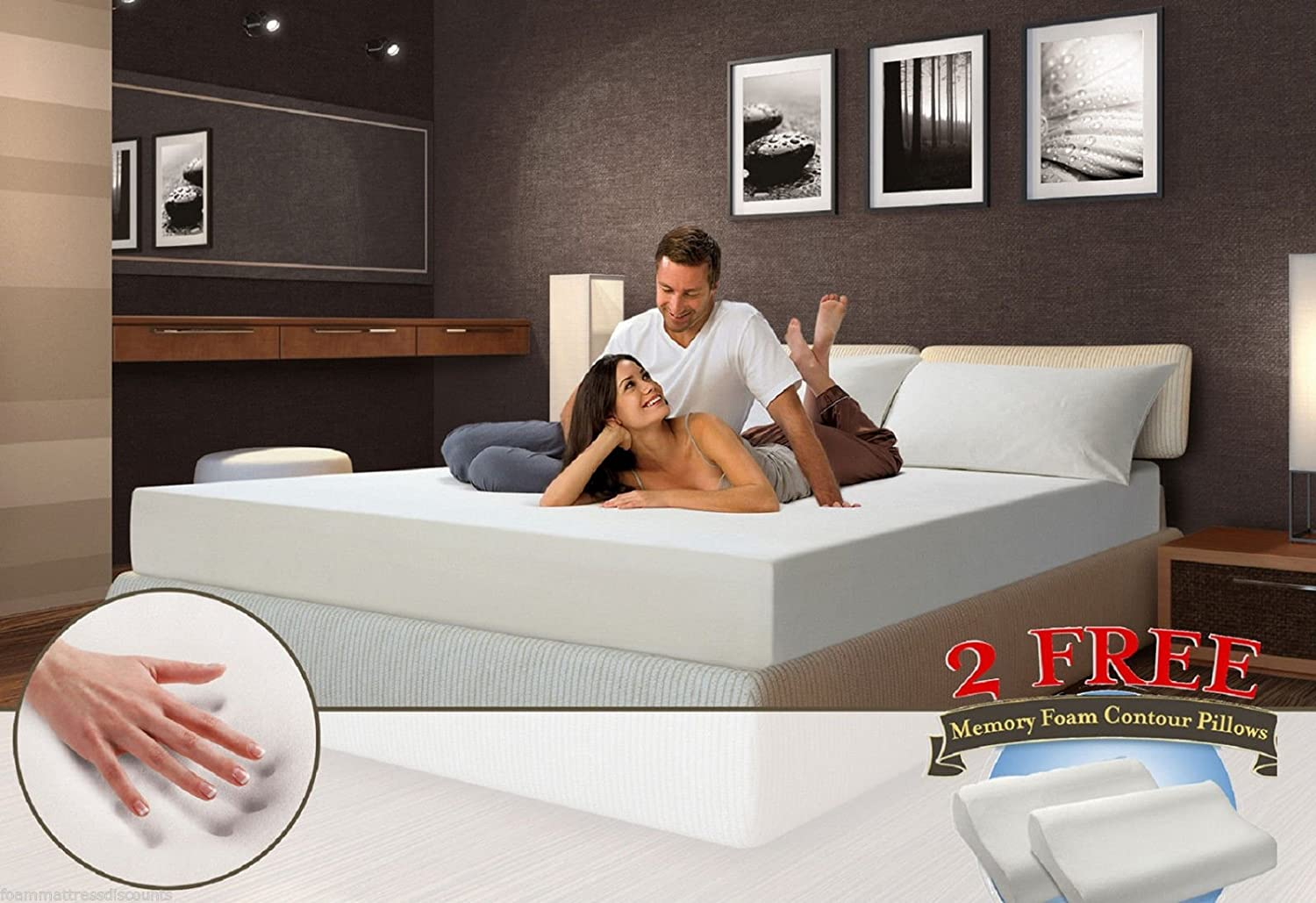 """Amazon.com: 10"""" inch QUEEN COOL MEDIUM-FIRM Memory Foam Mattress Bed with 2  FREE GEL Pillows: Kitchen & Dining"""