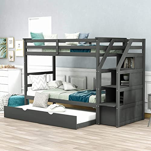P PURLOVE Bunk Bed Twin-Over-Twin Bed