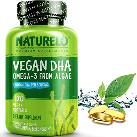 NATURELO Vegan DHA - Omega 3 Oil from Algae - Supplement for Brain, Heart, Joint, Eye Health - Provides Essential Fatty Acids for Women Men and Kids - Complements Prenatal Vitamins - 120 Softgels