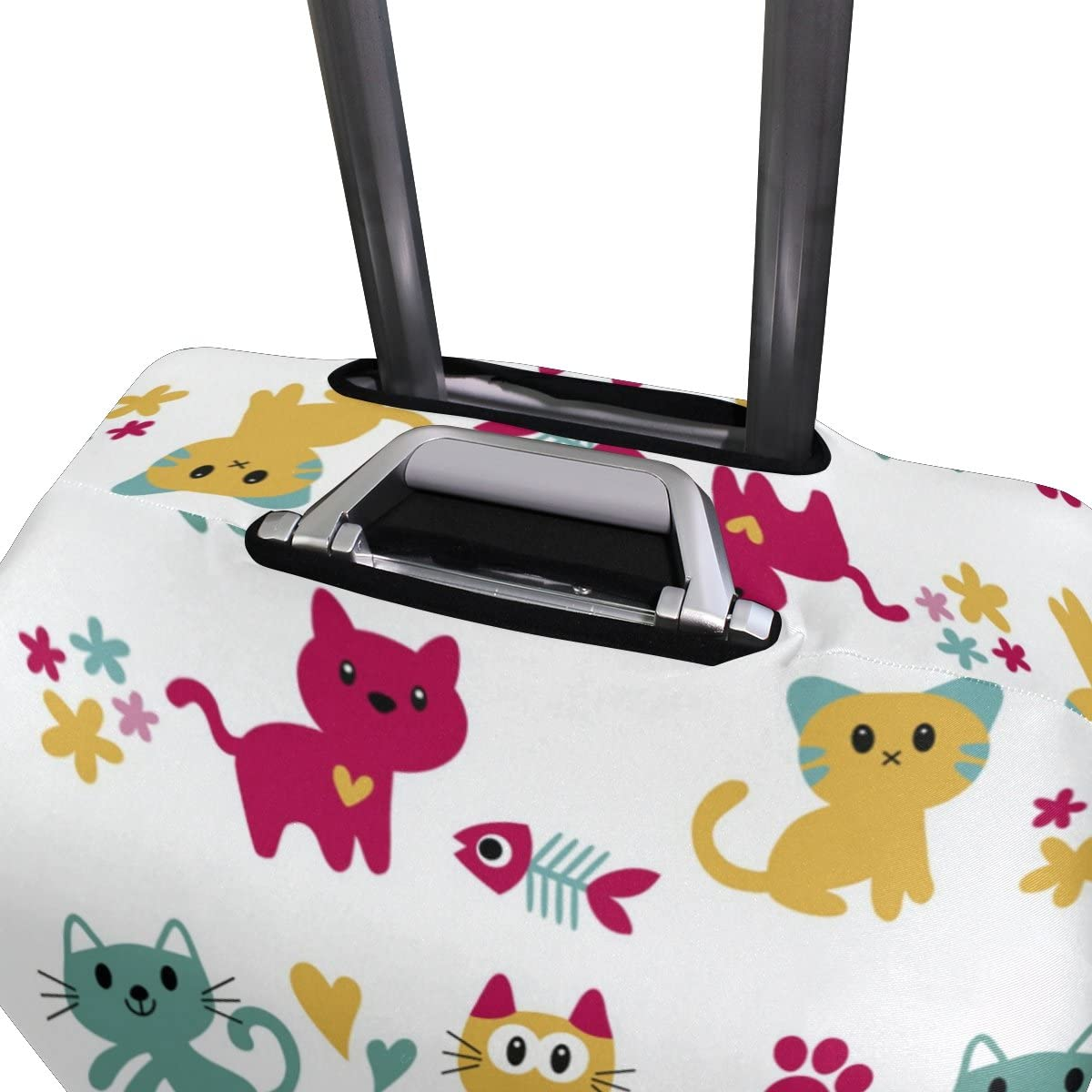 OREZI Luggage Protector Pattern With Cute Cats Travel Luggage Elastic Cover Suitcase Washable and Durable Anti-Scratch Stretchy Case Cover Fits 18-32 Inches