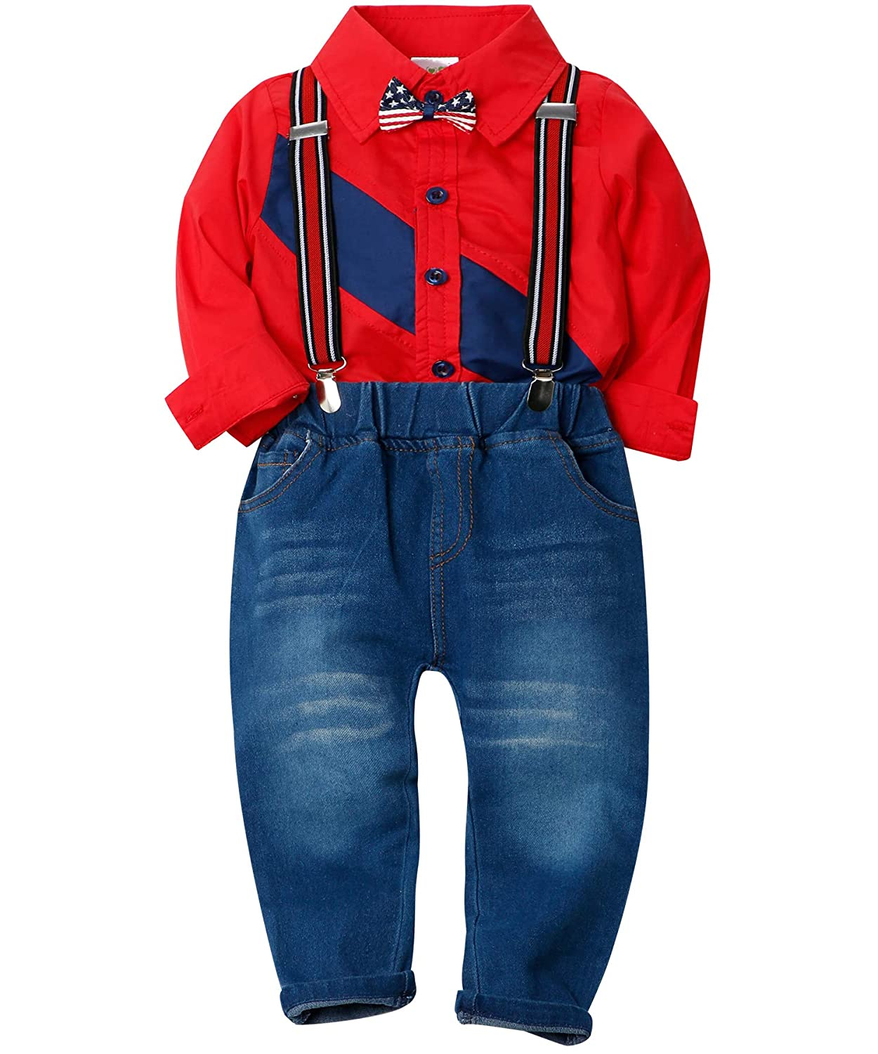 Suspenders Jeans Pants Toddler Boy Gentleman Party Wedding Outfits Suits ZOEREA Boys Clothes Sets Bow Ties Shirts