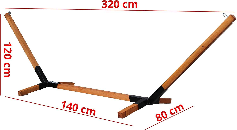 Megaastore - Estructura para hamacas de madera de haya (hasta 150 kg, 320 cm de ancho)