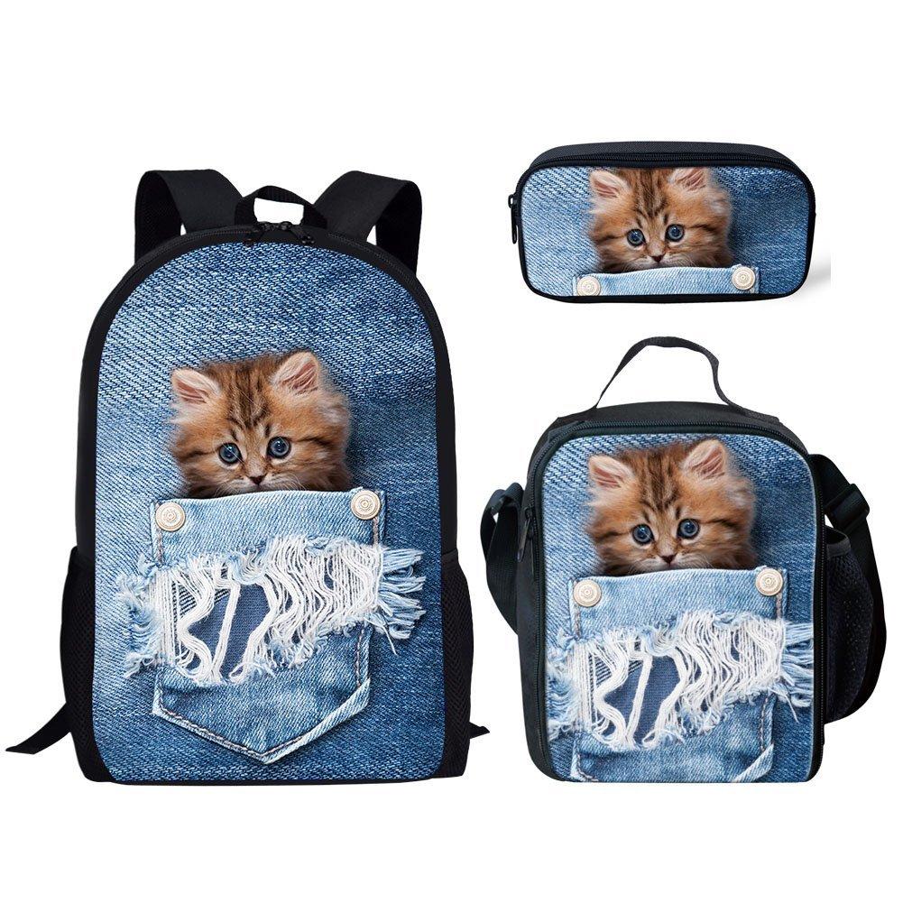 Hugs Ideaファッションペット犬印刷ランチバッグKids School Foodボックス L ブルー  Pocket Pet 2 Pattern Set B07G3D95PP