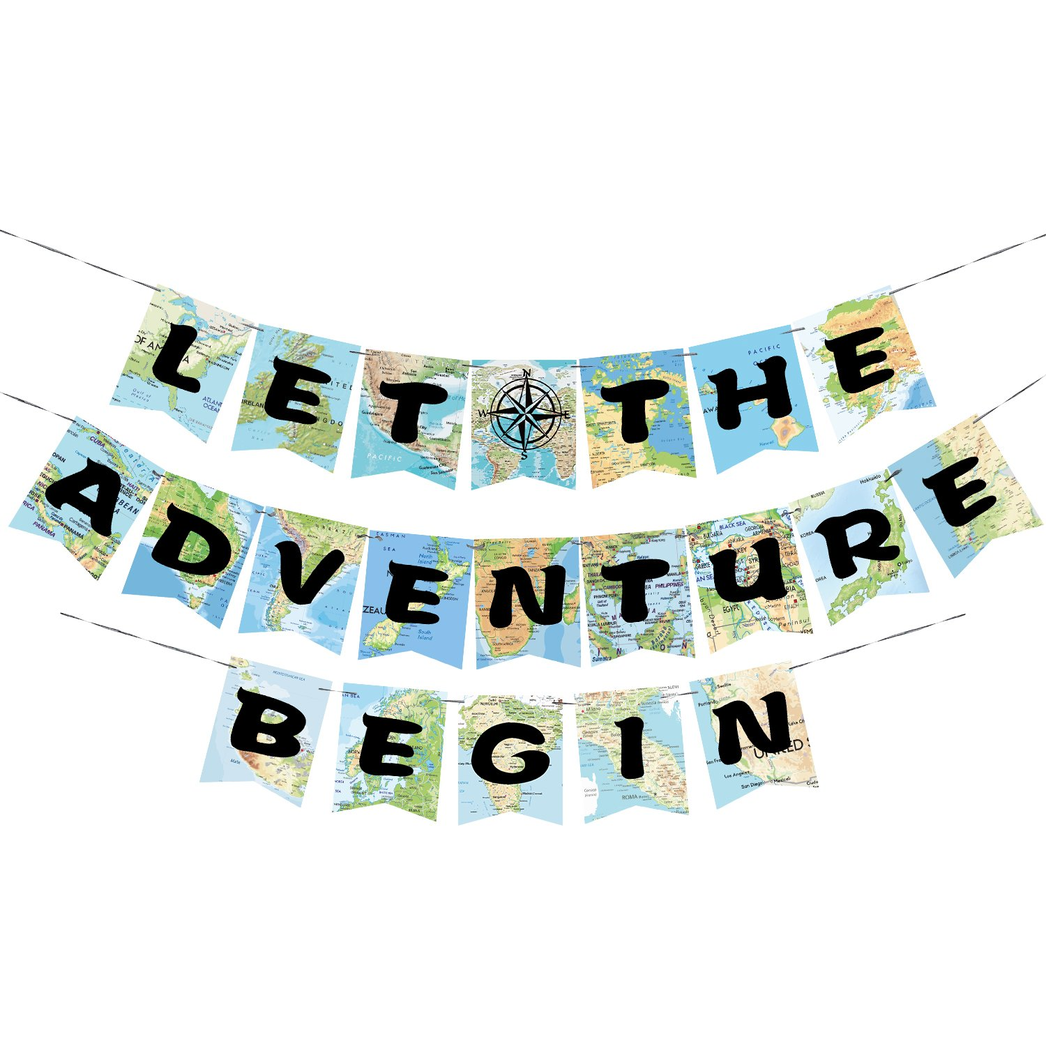 WERNNSAI Bon Voyage Party Decorations - World Map Pennant Let The Adventure Begin Bunting Banner for Birthday Baby Shower Graduation Retirement Travel Themed Party Supplies by WERNNSAI