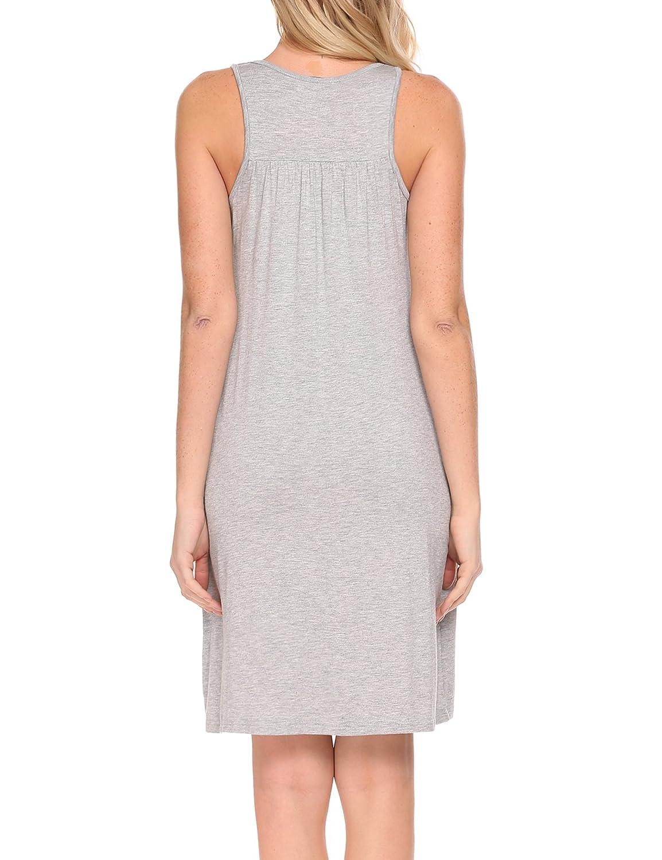 d851ef889 Hotouch Women Soft Nightgown Sleepwear Night Shirts Sleeveless Sleep Dress  with Pocket S-XXL at Amazon Women s Clothing store