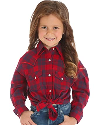 0ce0c231 Wrangler Girl's Long Sleeve Red & Navy Plaid Western Snap Shirt Stitched  Yoke ...