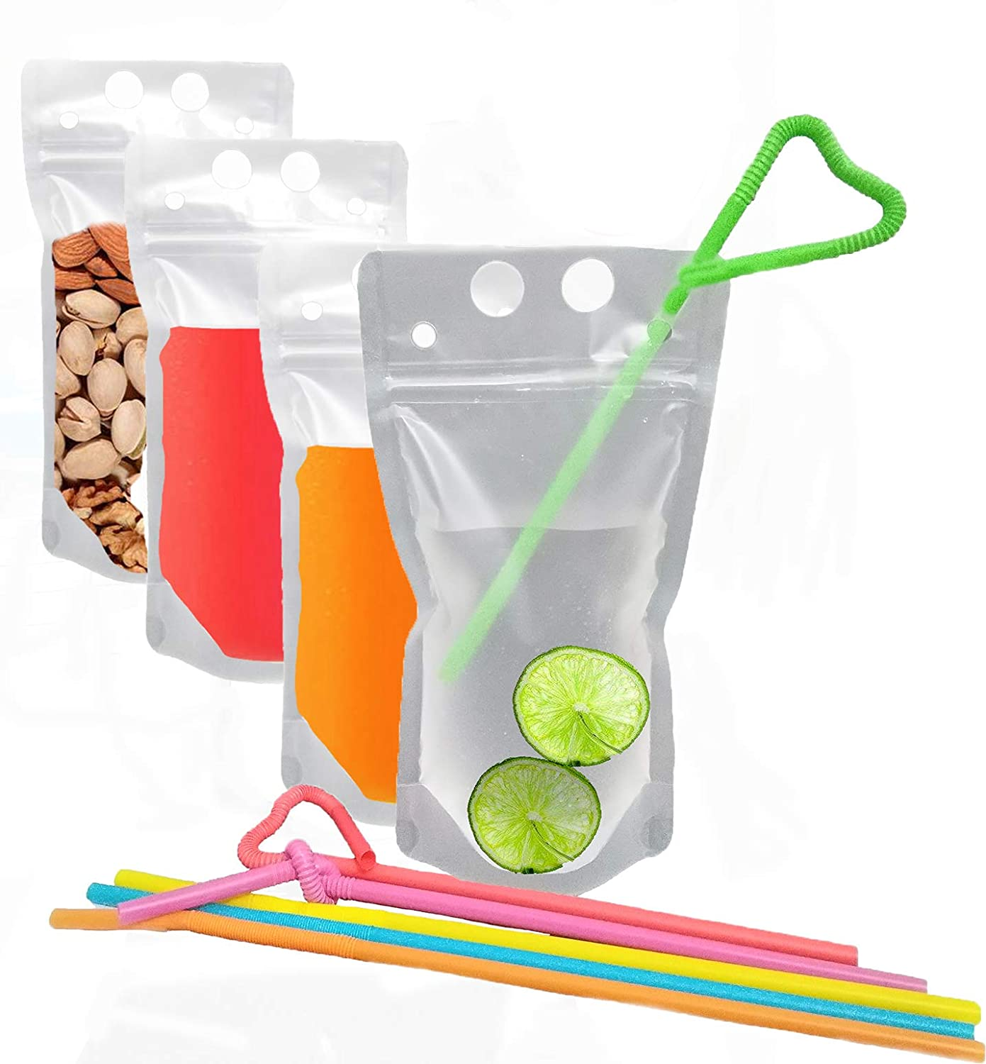 Drink Pouches Bag with Straws 20 Pack 17oz Plastic container Reclosable Zipper Hand-held Heavy Duty Ice Drinking Juice Pouches Bags