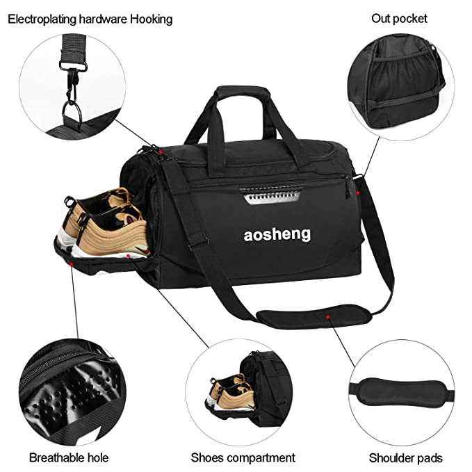 CGBOOM Gym Bag Travel Duffles Bag with Separate Shoe Compartment, Mens  Sports Holdall Bag Overnight Holdall Carry on Luggage Bag Weekend Bag  Waterproof ... cbbafb9891