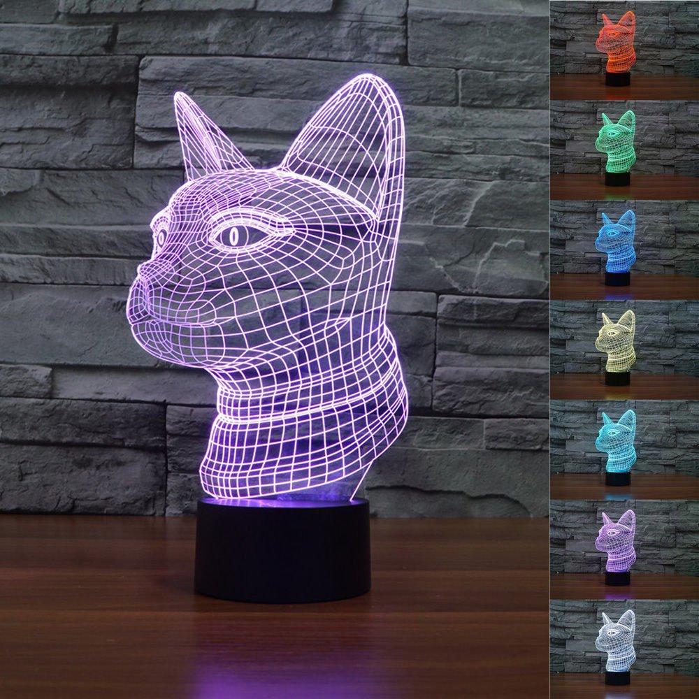 SUPERNIUDB 3D Cat Night Light Acrylic 3D LED USB 7 Color Change LED Table Lamp Xmas Toy Gift