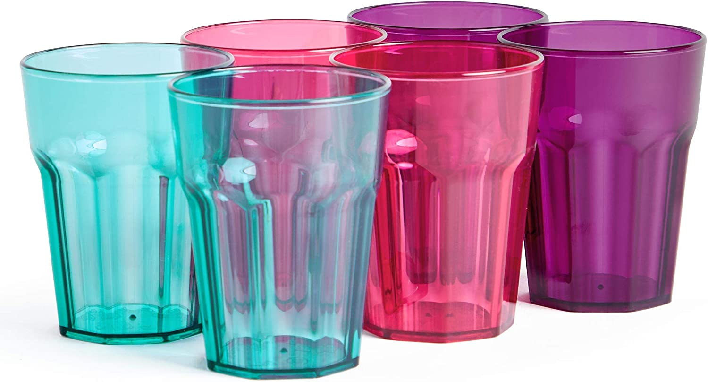 VonShef Set of 6 Plastic Cups - Outdoor Drink Preparation For BBQs, Picnic, Camping - Dishwasher Safe 16oz Shatterproof Cups - 3 Colors