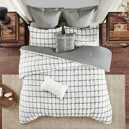 Full Queen Gray Lush Decor Comforter Farmhouse Stripe 3 Piece Reversible Bedding Set