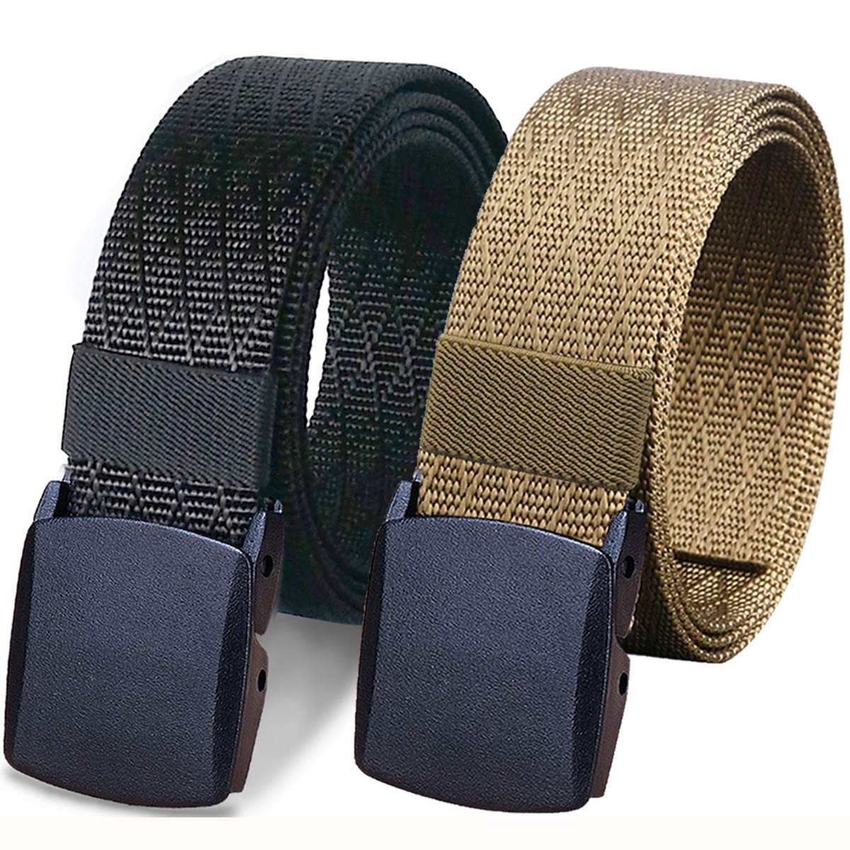 WYuZe 2 Pack Nylon Belt, Outdoor Military Web Belt Men's Tactical Webbing Belt (bbrown) by WYuZe (Image #1)