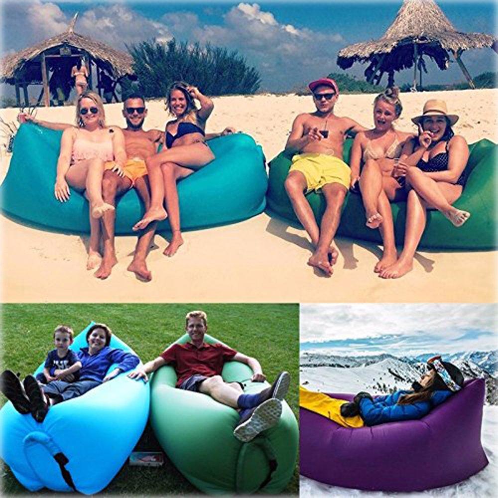 Lerju - Tumbona hinchable de alta calidad, fácil de inflar Camas hinchables, lujoso sofá cama tumbona hinchable, camas de aire de compresión, silla portátil ...