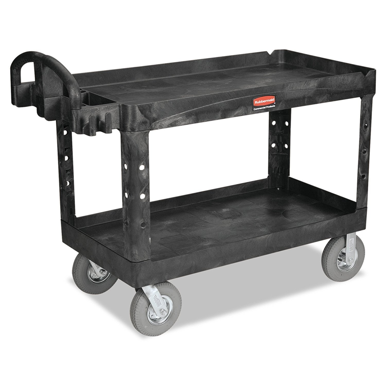 Rubbermaid Commercial Heavy-Duty 2- Shelf Utility Cart, Ergo Handle, Lipped Shelves, Large, Black FG454600BLA