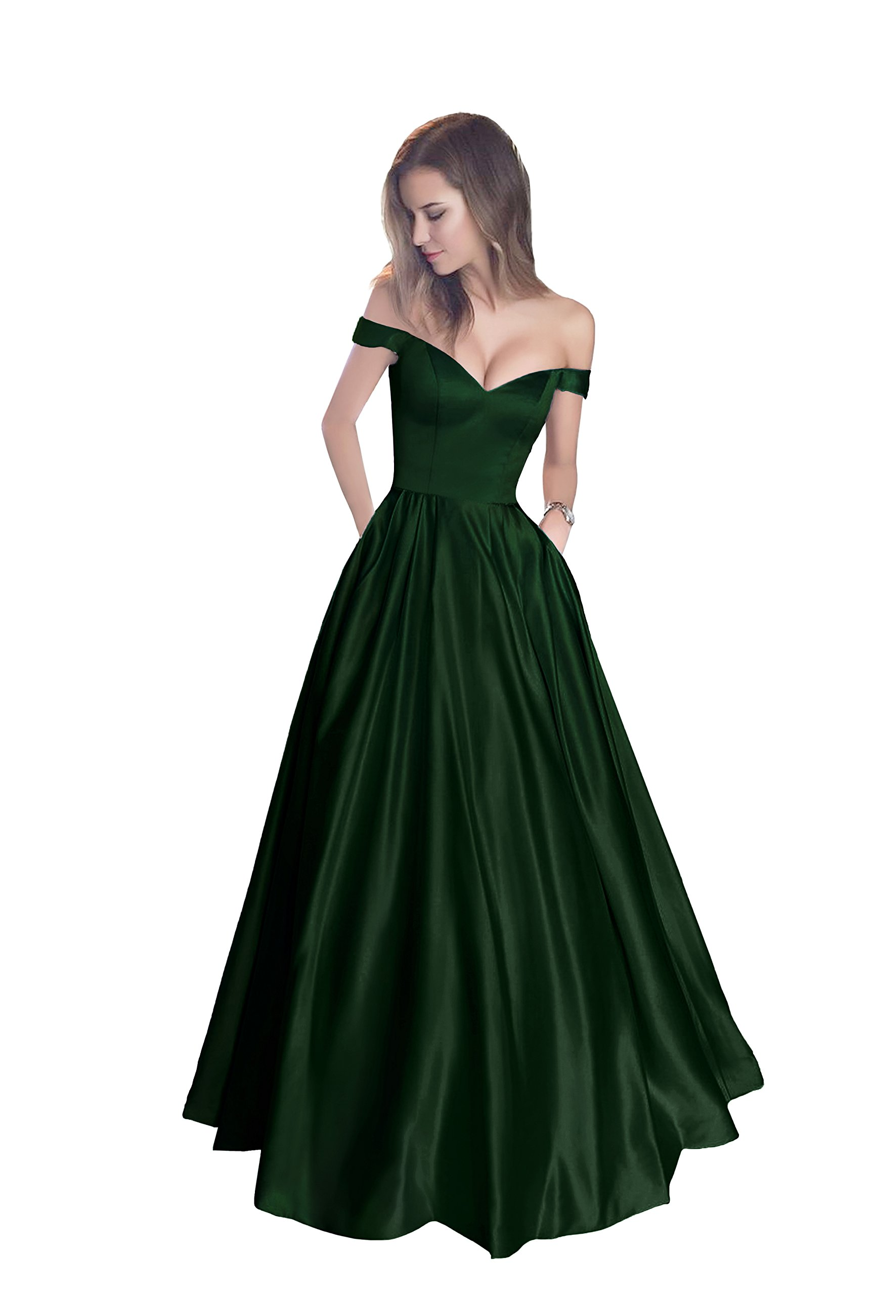 Harsuccting Off The Shoulder Beaded Satin Evening Prom Dress with Pocket Corset Without Belt
