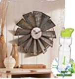 Gift Included- Country Decor Metal Windmill Rustic Country Primitive Roman Numerals Wall Clock and FREE Bonus 23 oz Water Bottle byHomecricket