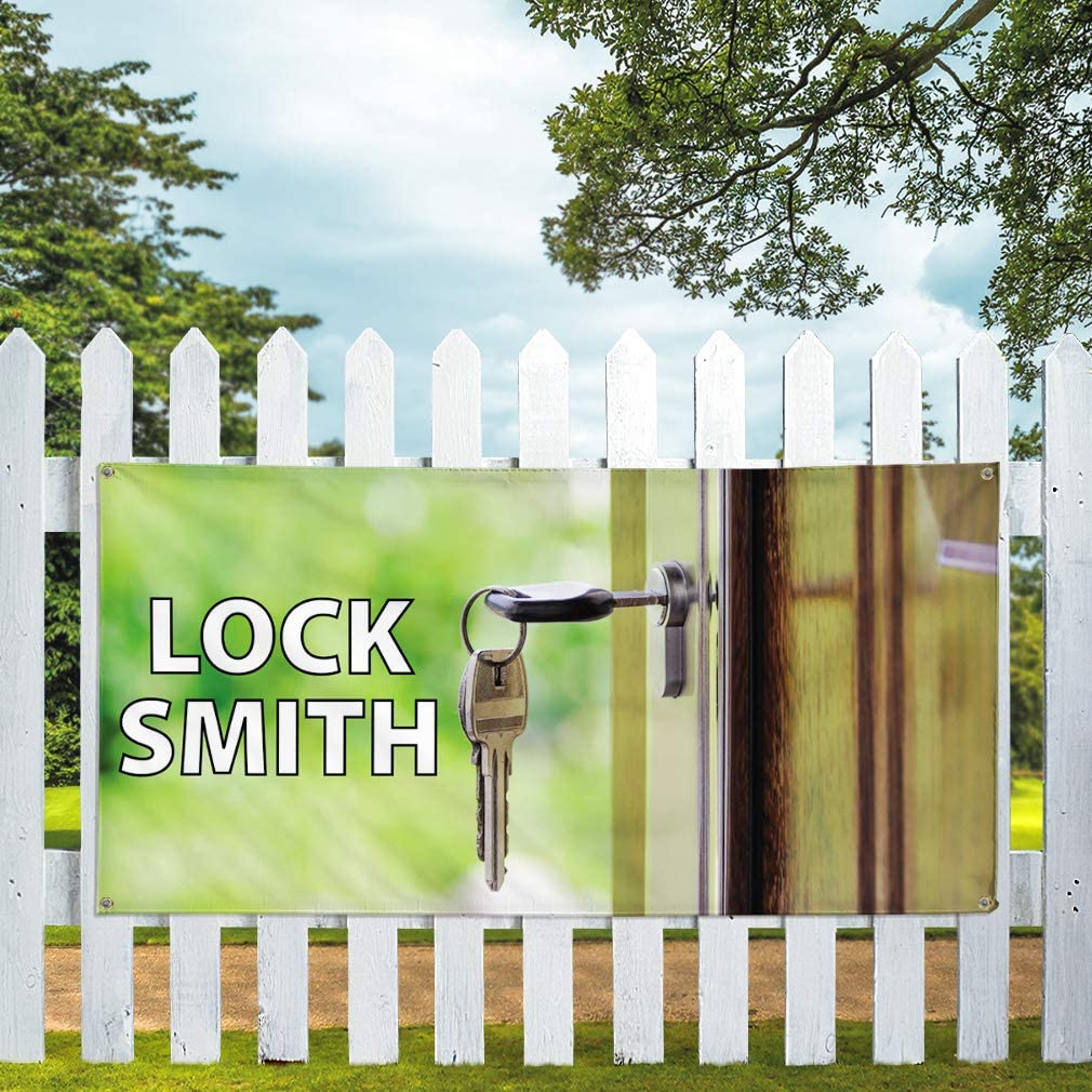 Set of 3 Vinyl Banner Sign Lock Smith #1 Business Lock Smith Outdoor Marketing Advertising Green Multiple Sizes Available 24inx60in 4 Grommets